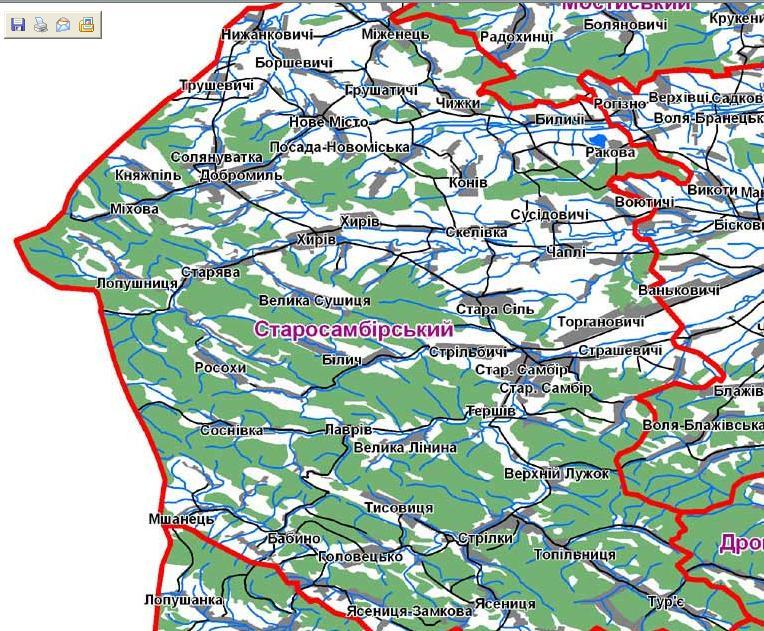 Карта старосамбірського району
